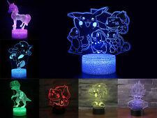 3D Visual Night Light 7 Colors Change LED Desk Table Lamp Kid Birthday Xmas Gift