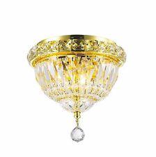 "3-Light Gold Finish D 8"" x H 8"" Empire Crystal Flush Mount Ceiling Light Mini"