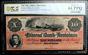 "1860's $10 New Orleans, Louisiana ""DIX""  Citizens Bank PCGS 64 PPQ CHOICE UNC"
