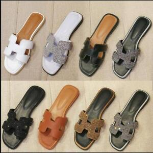 Women Leather Mule Slide On Sandals Slipper Flat Summer Shoes  Beach Rhinestone