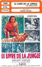 FICHE CINEMA FILM USA LE LIVRE DE LA JUNGLE / THE JUNGLE BOOK Zoltan Korda