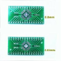 2Pcs QFN32 QFP32 0.8/0.65mm Pitch SMD to DIP Breakout Adapter Converter Plate