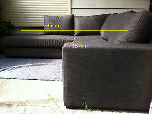 Beautiful Large L Shaped Couch Sofa Lounge Dark Charcoal/Grey - Moving house