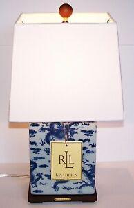 RALPH LAUREN PORCELAIN BLUE CHINESE DRAGON MANDARIN CHINOISERIE LAMP & SHADE