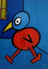Art brut, art outsider - Oiseau sur panneau bois 30 x 21 cm - .