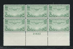 1937 C21 20 Cent China Clipper Stamps Plate Block 6 F-VF MNH