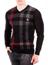Burberry Mens Sweater V-Neck Cotton Jumper in Black and Camel