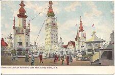 Towers & Court of Fountains, Luna Park, Coney Island Ny Postcard Amusement Park