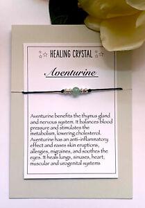 Aventurine Gemstone bracelet Reiki Chakra Anxiety Stress Healing Crystal Gift