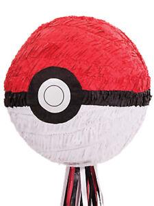Childs Kids Pokemon Ball Pull Pinata Party Game Birthday Accessory New