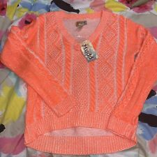 Mudd Womens Ribbed Orange Knit V-Neck Sweater Size XS Long Sleeves High Low Nwt