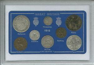 1915 GB Great British Vintage Antique Coin Set (106th Birthday Gift Birth Year)