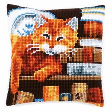 Chat et livres: Vervaco Chunky cross stitch Coussin Kit-PN0163873