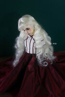 QQ-73C Retro Big Waves Milk White BJD Doll Synthetic Mohair Wig  1/3;1/4;1/6