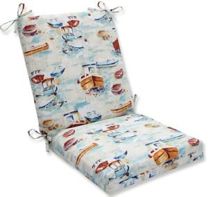 Pillow Perfect Indoor/Outdoor Spinnaker Bay Sailor Squared Corners Chair Cushion