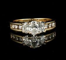 KAYS OVAL CUT NATURAL 1.24ctw DIAMOND SOLID 14K GOLD THREE STONE ENGAGEMENT RING