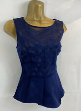New LIPSY Size 8 Navy Blue Peplum Top Sheer Laser Cut RRP £40