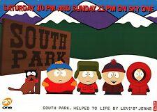 """TV POSTER~South Park Entire Cast 1997 Sky One Levi's UK Quad 30x40"""" Original~NOS"""