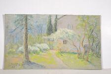 Dessin Pastel 1932 Marguerite DUBOIS Jardin du Garde Ile Ste Marguerite Lérins
