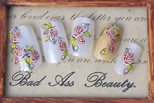 Red Roses One Stroke Water Transfers Nail Art Stickers Decals Tips Decoration