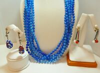 Vintage Multi Strand BLUE Necklace, Art Glass Earrings, RED WHITE BLUE Earrings
