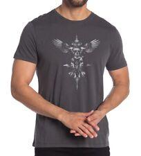 John Varvatos Star USA Men's Short Sleeve Skull Wings Graphic Crew T-Shirt Coal