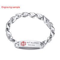 Free Personalize Engraving Medical Alert ID Name Women Men Bracelet Bangle Chain