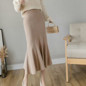Lady Knitted Fishtail Skirt Midi Ruffle Stretch Casual High Waist Slim Autumn
