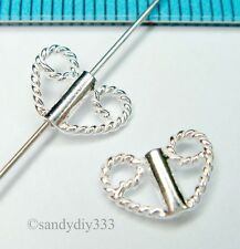 4x BRIGHT STERLING SILVER HEART WIRE TUBE SPACER BEAD #1498