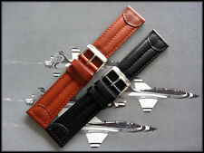 16mm Black Leather Pilot watch band Military Army strap IW SUISSE 14 18 19 20 22