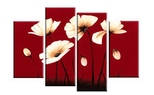 RED CANVAS CREAM FLOWERS FLORAL WALL ART SPLIT PICTURES 4 PANEL 40 rdy 2 hang