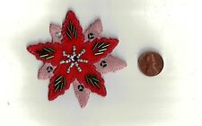 Poinsettia Flower with Beads & Sequins Iron-On Applique  Craft Embellishment