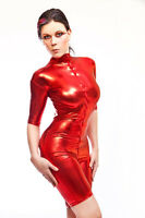 Catsuit Overall Gothic  Lack/Latex look Farbe rot, color red