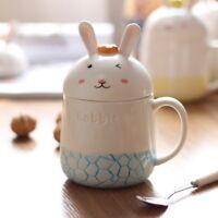 Cartoon Rabbit Ceramic Coffee Mug Set Cute Milk Water Cup With Spoon gift set