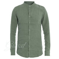 Camicia Uomo Collo Coreano Tinta Unita Verde Lino Maniche Lunghe Casual GIOSAL