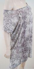 Maje Blanc & Gris 100% lin Python Imprimé Animal Off épaule Robe d'été Sz:2