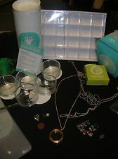 Origami Owl lot of 32 Charms, living locket, leather wraps,Tweezers, Organizers
