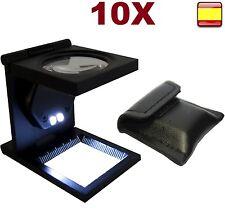 Lupa cuenta hilos 10x de aumento con luz led cuerpo metalico guia de medición