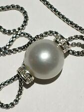 David Yurman Solari Pearl Pendant Necklace w/ Diamonds white pearl ADJ chain