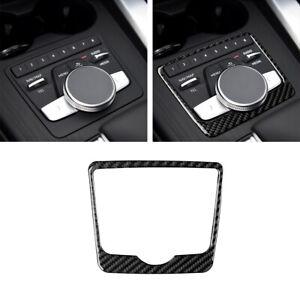 Carbon Fiber CD GPS Console Panel Interior Cover Trim For Audi A4 B9 2017-19