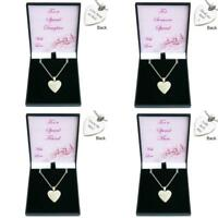 Engraved Heart Necklace with Crystals. Personalised Gift for Mum, Daughter, etc