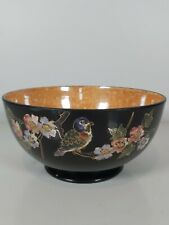 More details for a bretby art pottery decorated with cloisonne panel of birds on blossom branches