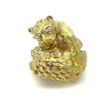 FRANCESE DOPPIO LEONE PESANTE testurizzate Anello W/ Diamanti in 18k oro giallo