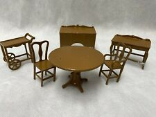 Vintage 1930s Tootsie Toy Metal Dollhouse Dining Room Gold