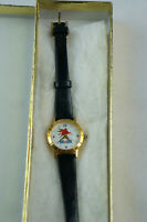 Vintage Mobil Oil Company Womens Image Watches Flying Red Horse Pegasus Leather