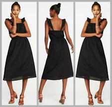 Old Navy Black Sleeveless Ruffle-Trim Cinched Waist Dress - Size Extra Large