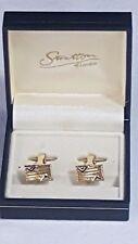 Stratton of London Rectangular Cufflinks Boxed Gold Ridged Silver V Edging No45