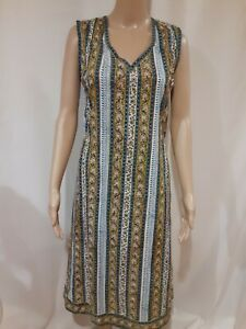 Anokhi Women's Cotton Sleeveless Midi Dress V Neck Size M