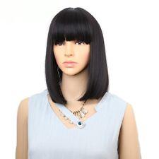 Beautiful Synthetic Wig with Bangs Medium Length Bob Heat Resist