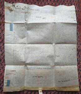ANTIQUE 1708 on VELLUM hand written INDENTURE WITH WAX SEAL for William Wyatt